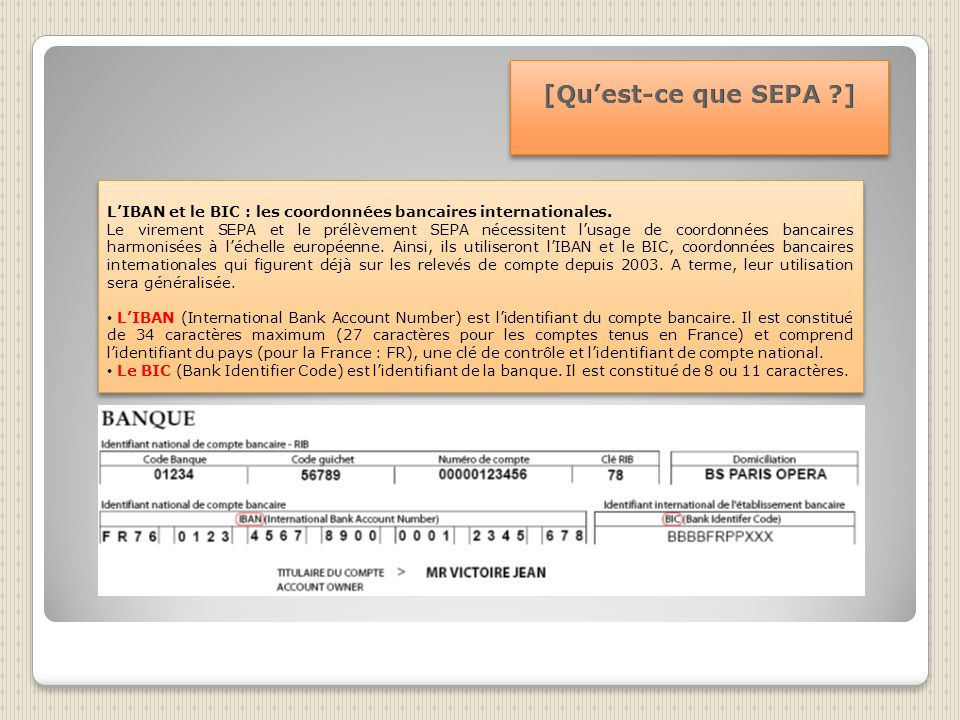 [Qu'est-ce que SEPA ] L'IBAN et le BIC : les coordonnées bancaires internationales.